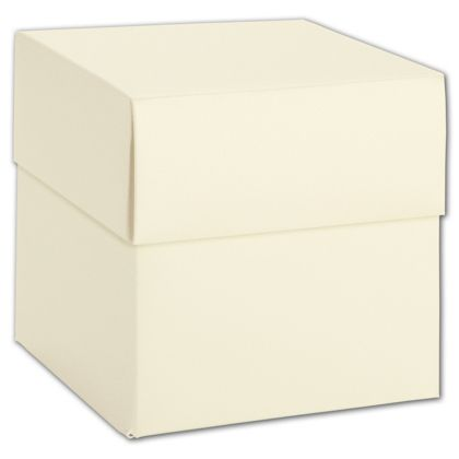 """Ivory Shimmer Two-Piece Cupcake Boxes, 4 x 4 x 4"""""""