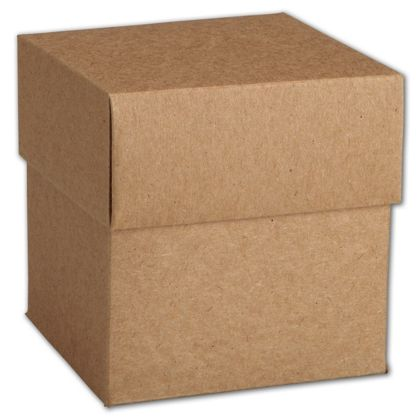 Kraft Two-Piece Cupcake Boxes, 4 x 4 x 4""