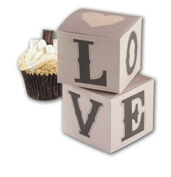 Rustic Love Cupcake Boxes, 3 1/2 x 3 1/2 x 3