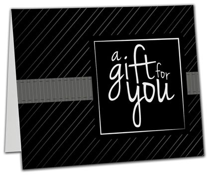 "Black Stripe Gift Card Carriers, 6 1/2 x 4"" Flat"