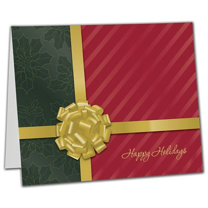 "Gold Bow Gift Card Carriers, 6 1/2 x 4"" Flat"