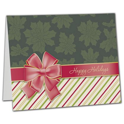"Red Bow Gift Card Carriers, 6 1/2 x 4"" Flat"