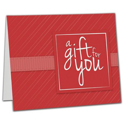 "Red Stripe Gift Card Carriers, 6 1/2 x 4"" Flat"