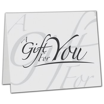 White Italic Gift Card Carriers, 6 1/2 x 4