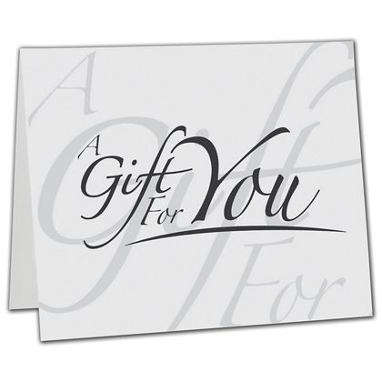 "White Italic Gift Card Carriers, 6 1/2 x 4"" Flat"