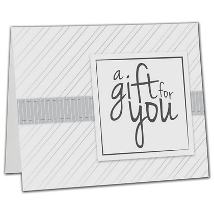 "White Stripe Gift Card Carriers, 6 1/2 x 4"" Flat"