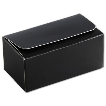 Black 2-Truffle Confectionery Boxes, 3 1/16x1 11/16x1 5/16