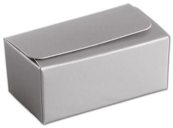 Silver 2-Truffle Confectionery Box, 3 1/16x1 11/16x1 5/16