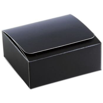 Black 4-Truffle Confectionery Boxes, 3 3/8x3 1/16x1 5/16""