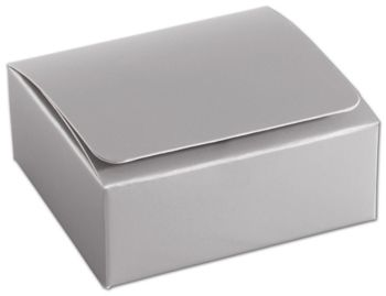 Silver 4-Truffle Confectionery Boxes, 3 3/8x3 1/16x1 5/16