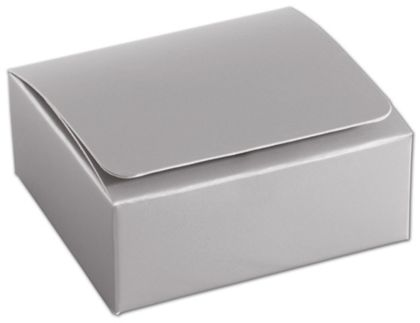 Silver 4-Truffle Confectionery Boxes, 3 3/8x3 1/16x1 5/16""