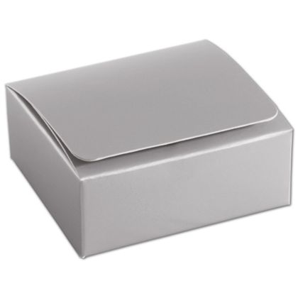 """Silver 4-Truffle Confectionery Boxes, 3 3/8x3 1/16x1 5/16"""""""