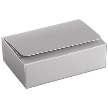 Silver 6-Truffle Confectionery Boxes, 4 7/16x3 1/16x1 5/16