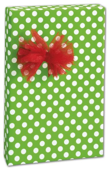 Large Dots Kiwi Green Gift Wrap, 30