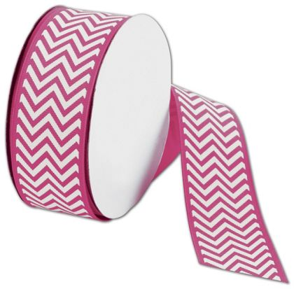 "Shocking Pink Chevron Ribbon, 1 1/2"" x 25 Yds"
