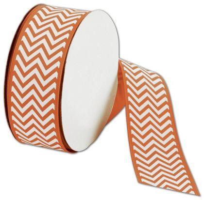 "Orange Chevron Ribbon, 1 1/2"" x 25 Yds"