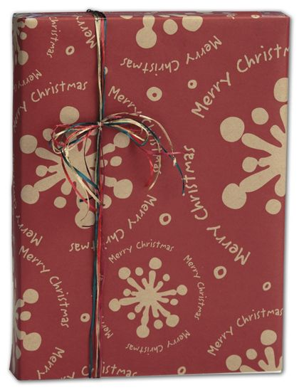 "Christmas Gale Kraft Gift Wrap, 30"" x 100'"