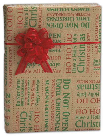 """Tis the Season Kraft Gift Wrap, 30"""" x 100'"""