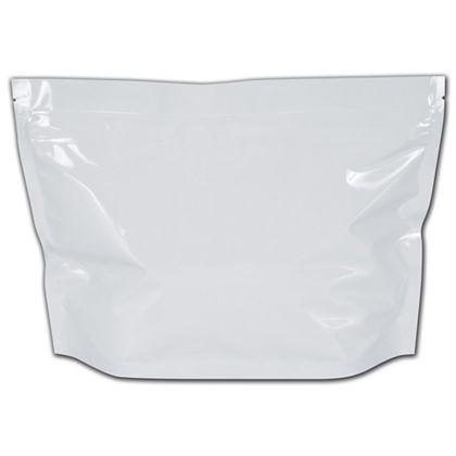 """White Medium Exit Cannabis Bags, 8 x 6"""" + 2 1/2"""" BG"""