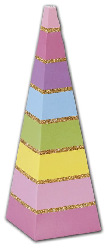 Rainbow Stripes Cone Favor Boxes, 2 x 2 x 6 1/2