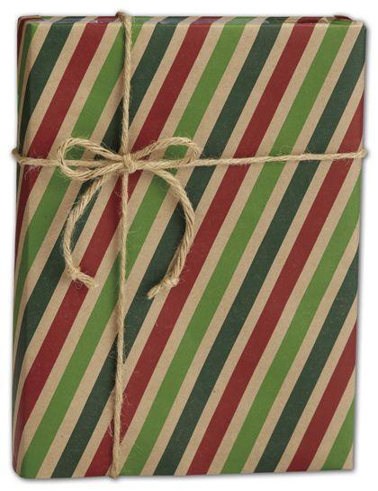 """Seasonal Stripe Kraft Gift Wrap, 30"""" x 100'"""