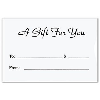 White Gift Card Sleeves, 3 3/8 x 2 1/4""