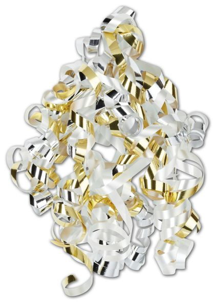 "Silver, Gold, White, Curly Bows, 1/4"" Wide x 36"" Long"