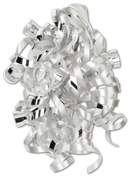 "Silver Curly Bows, 1/4"" Wide x 36"" Long, 12 Strands"