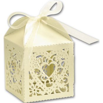 Ivory Decorative Favor Boxes, 2 x 2 x 2 3/4
