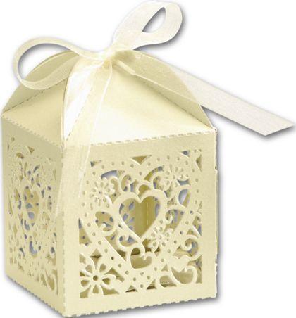 """Ivory Decorative Favor Boxes, 2 x 2 x 2 3/4"""""""