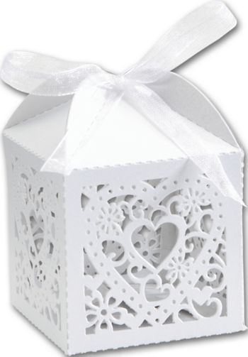 White Decorative Favor Boxes, 2 x 2 x 2 3/4