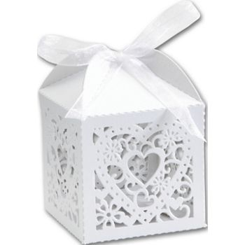 White Decorative Favor Boxes, 2 x 2 x 2 3/4
