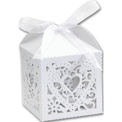 "White Decorative Favor Boxes, 2 x 2 x 2 3/4"""