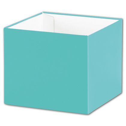 "Robin's Egg Blue Gift Box Bases, 4 x 4 x 3 1/2"""