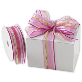 Devan Stripe Pink/Berry Ribbon, 1 1/2
