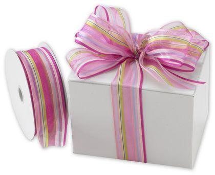 """Devan Stripe Pink/Berry Ribbon, 1 1/2"""" x 50 Yds"""