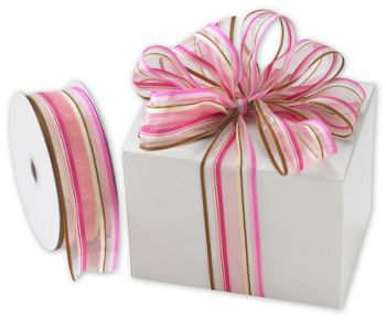 Devan Stripe Pink/Brown Ribbon, 1 1/2
