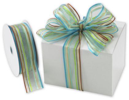 """Devan Stripe Blue/Brown Ribbon, 1 1/2"""" x 50 Yds"""