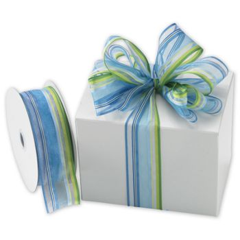 Devan Stripe Green/Blue Ribbon, 1 1/2