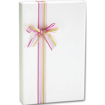 White Linen Embossed Gift Wrap, 24