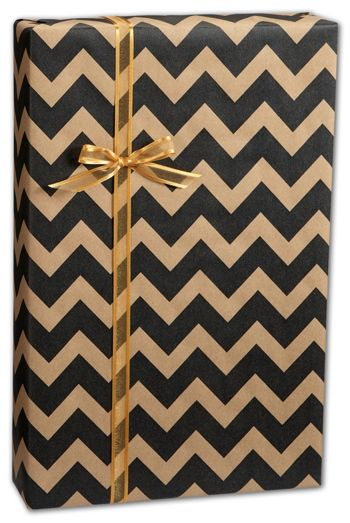Black/Kraft Chevron Gift Wrap, 24