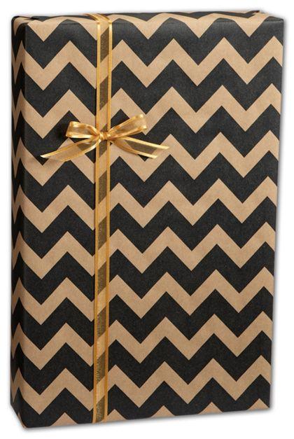 "Black/Kraft Chevron Gift Wrap, 24"" x 100'"
