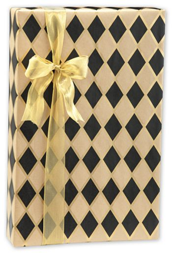 Black Diamonds/Kraft Gift Wrap, 24