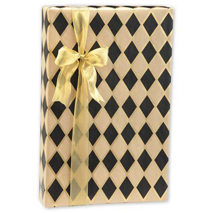 "Black Diamonds/Kraft Gift Wrap, 24"" x 100'"