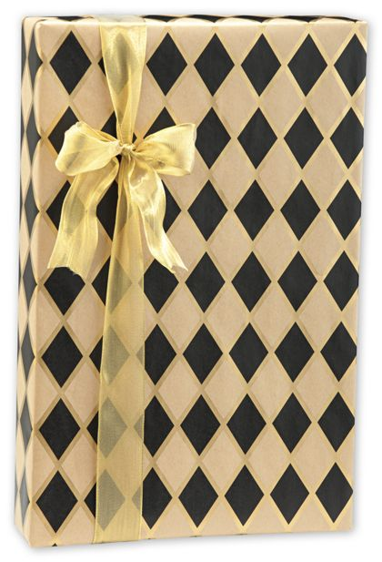"Black Diamonds/Kraft Gift Wrap, 24"" x 417'"