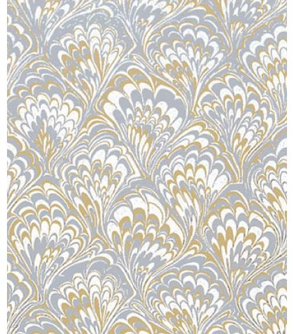 """Gold & Silver Feather Gift Wrap, 24"""" x 417'"""