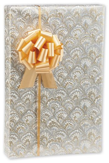 Gold & Silver Feathers Jeweler's Roll Gift Wrap, 7 3/8x100