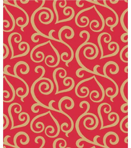 "Scrolled Hearts Gift Wrap, 24"" x 417'"