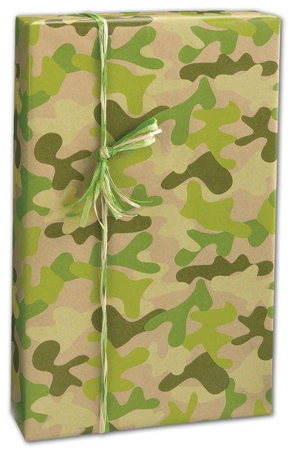"""Kraft Camo Gift Wrap, 24"""" x 417'"""