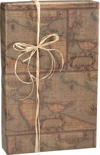 World Map/Kraft Gift Wrap, 24